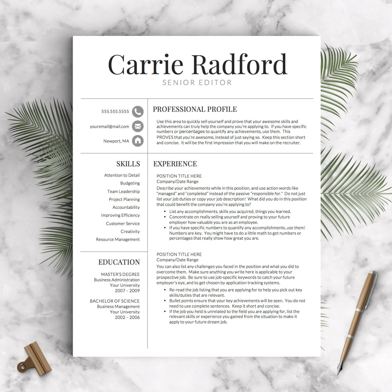 resume template professional resume template cv template
