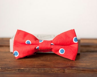 Red with blue and white polka dots bow tie  - Adult size
