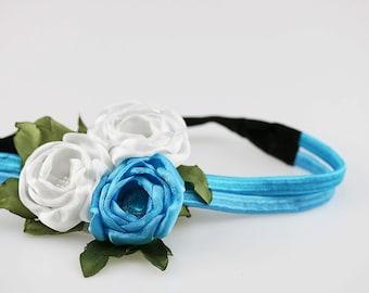 White blue headband Flower girl head band Floral headband baby Blue peony flower headband elastic Baby girl hair accessory Baby shower gift
