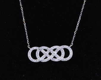 14K 0.45 cttw Double Diamond Infinity Necklace, Pendant with 18 inch cable chain
