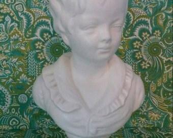 Vintage Napcoware White Porcelain Bust Boy Male Child Figurine Statue Japan Hollywood Regency