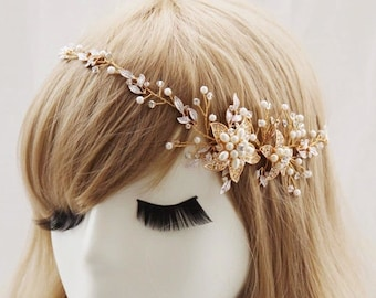 Crystal pearl flower headband, wedding hair hoop,bride hair accessories