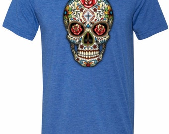 Men's Skull Shirt Sugar Skull with Roses Tri Blend Crewneck Tee T-Shirt WS-16553-C3413