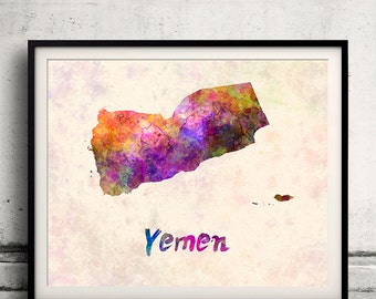 Yemen - Map in watercolor - Fine Art Print Glicee Poster Decor Home Gift Illustration Wall Art Countries Colorful - SKU 1809
