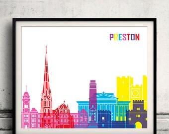 Preston pop art skyline 8x10 in. to 12x16 in. Fine Art Print Glicee Poster Gift Illustration Pop Art Colorful Landmarks - SKU 0560