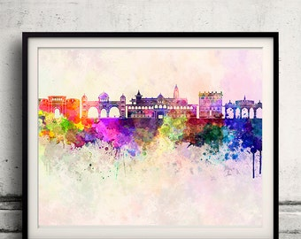 Pune skyline in watercolor background - Poster Digital Wall art Illustration Print Art Decorative - SKU 1418