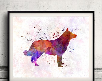 Lapponian Herder 01 in watercolor - Fine Art Print Poster Decor Home Watercolor Illustration Dog - SKU 1639