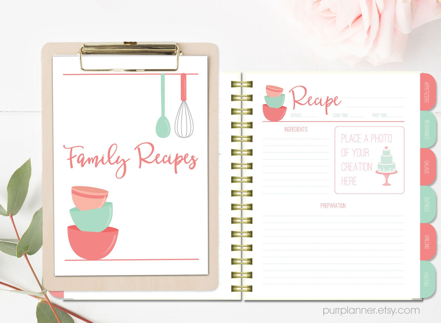 Printable Recipe Binder Kit Blank Cookbook Coral And Mint