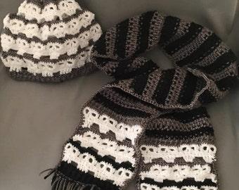 Crochet Skull Scarf w/ Matching Beanie