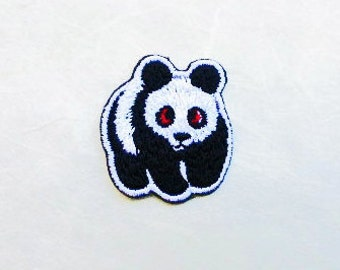 Panda Iron On Patch (S) - Panda Applique Embroidered Iron on Patch - Size 2.6x3.1 cm