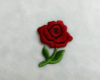 Red Rose Iron on patch - Flower Applique Embroidered Iron on Patch-Size 3.8x5.2 cm
