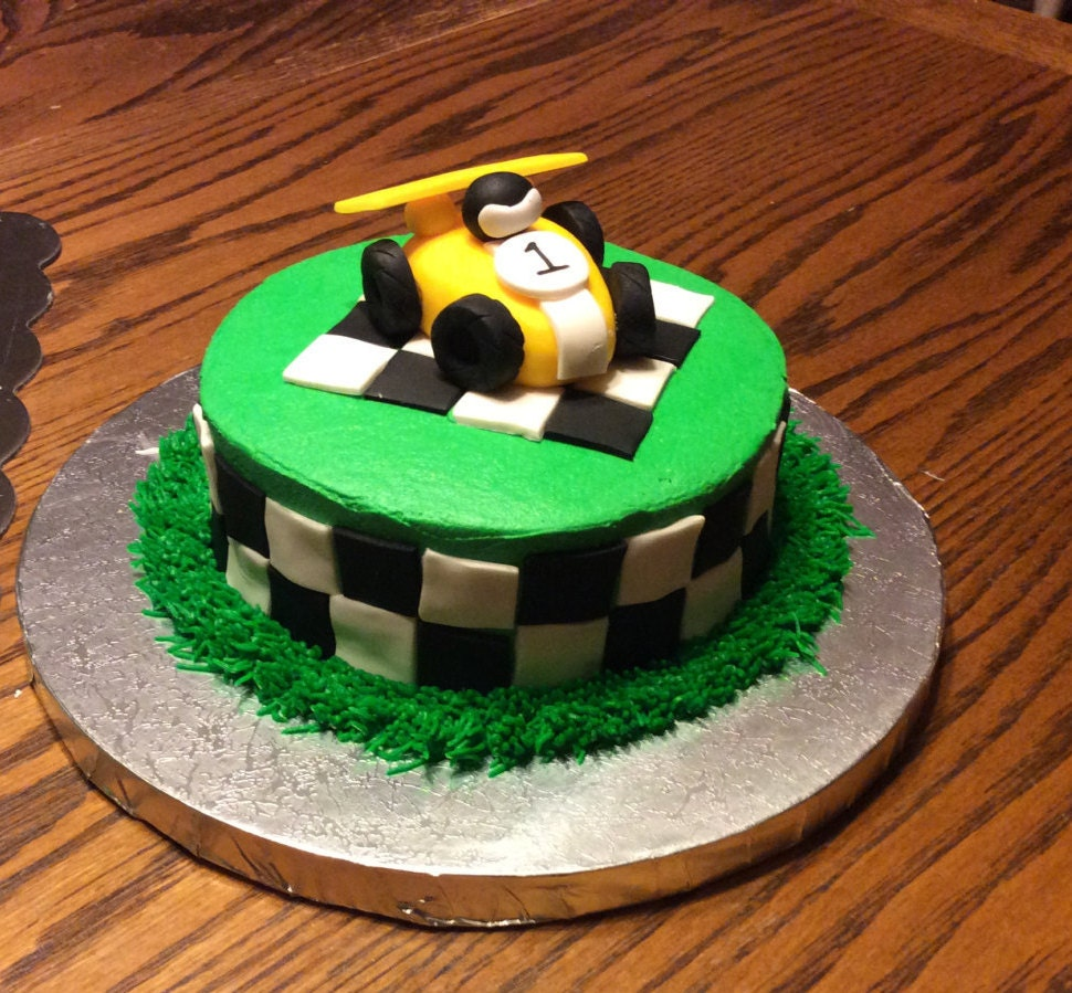 Edible Cake Decorations Cars : Race Car Cake Topper birthday party fondant edible car drag