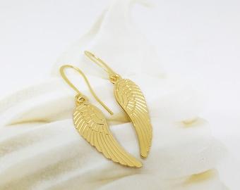 Angel wings earrings, Gold angle wings earrings, Dangle angle wings earrings, Boho chic earrings, Gold wings earrings, Gold dangle earrings