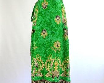 1960s/1970s Midi Length Batik Skirt - Small/Medium