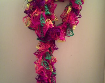 Crochet Ruffle Scarf 8' - neon colors