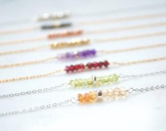 Dainty Necklace, Gemstone Necklace, Small Stone Necklace,Minimalist Necklace,Dainty Jewelry,Crystal,Pyrite,Amethyst,Garnet,Peridot,Citrine