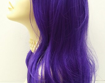 Long 20 inch Purple Wig. Wavy Straight Purple Wig. Anime Cosplay Wig. Wavy Ends with Bangs. [18-119-MiaWV-Purple]