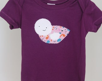 Organic Cotton Onesie Bodysuit Bird Purple and Pink - girl