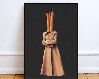 "Minimalist art, food print, paper collage art, food art, surreal collage art, mixed media collage, carrot wall art - ""I don't carrot all""."