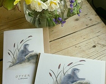 Otter card. Hand painted image printed on recycled card. Hand painted otter card. Choose from two designs.