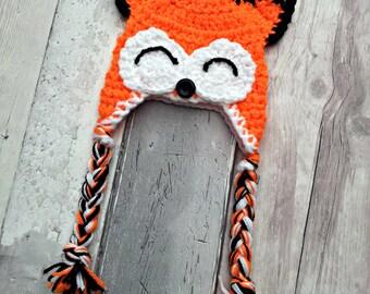 Fox Hat - Baby Hat - Earflap Hat - Preemie - Newborn - Photo Prop