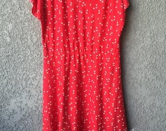 Red floral semi sheer Grissom Lane dress