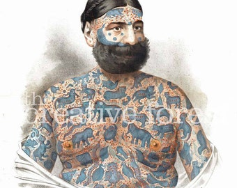 Tattooed Man, Captain Costentenus Vintage Tattoo Reproduction CANVAS PRINT 24x32 in.