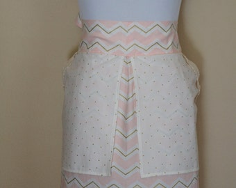 Women's Half Apron - Soft Pink and Gold