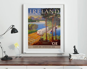 Ireland Poster Irish Art Irish Decor Irish Pub Ireland Gift Irish Gift Travel Vintage Poster Wall Art Irish Travel Print Train Poster 1950s