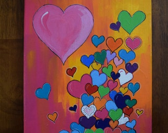 Original Bright Colored Hearts Painting on 8x10 Canvas