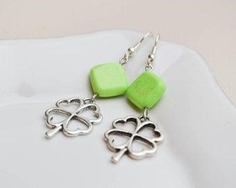 Ceramic earrings - green beads -  four-leaf  clover