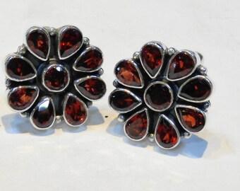 Beautiful Flower Garnet Sterling Silver 925 Handmade Cufflinks Mens Jewellery Red  by AmoreJewels