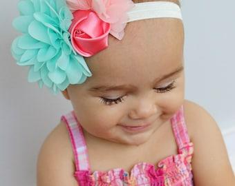 Mint chiffon flower, light pink chiffon flower, and pink rosette shabby chic vintage headband hair bow