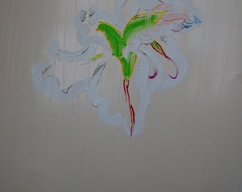 Abstract floral; white, green, pink, red, blue