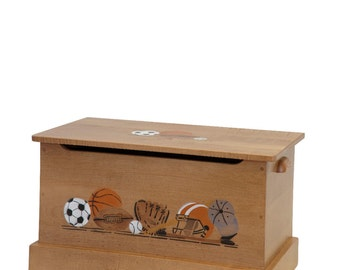 Sports Themed - Handmade - Custom - Maple Toy Box - Children & Kids Toy Storage - Toy Chest - Amish made in USA