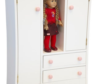 Doll Play House Deluxe Wardrobe for up to 18 inch Doll - Handmade - Real Wood Furniture - Amish Made in USA