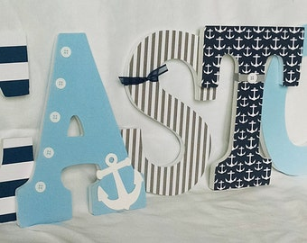 Nautical letters, nautical nursery letters, wooden letters,  nautical nursery boy, wooden letters for boy