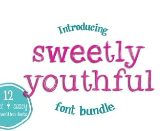 """Digital Font Bundle- Handwritten Fonts for Commercial Use """"Sweetly Youthful""""- 12 Fonts- Instant Digital Download"""
