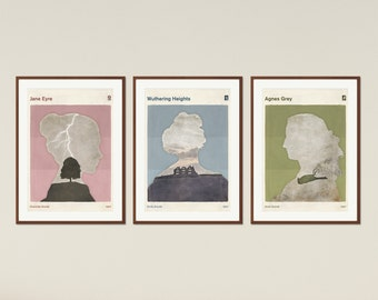 Brontë Sisters set - Large, minimalist poster, literary poster, literature poster, illustration poster, printable wall art, Instant Download