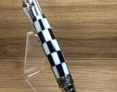 Gear Shift Pen Chrome Bolt Action Black & White Checkered Flag Car Guy