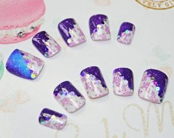 Japanese kawaii nail art false nail, fake nails, changing color polish,purple, blue, stamping, party, cosplay, lolita accessory, fairykei