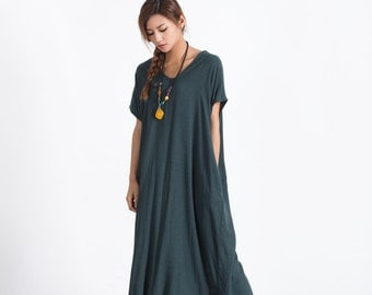 Women's linen maxi dress loose linen cotton kaftan oversize bridesmaid dress large size dress plus size clothing custom made clothing A89
