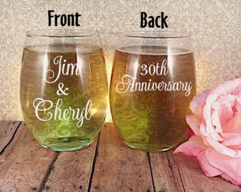 Anniversary Wine  Glasses, Anniversary Gift, 30th Anniversary Gift, 25th Anniversary Gift, 40th Anniversary Gift, Anniversary Wine Glass Set
