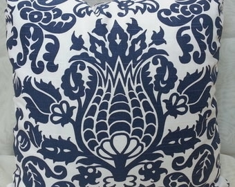 Decorative Throw Pillow Cover with Premier Prints Amsterdam Slub Blue/ White / Euro Shams / All Sizes available