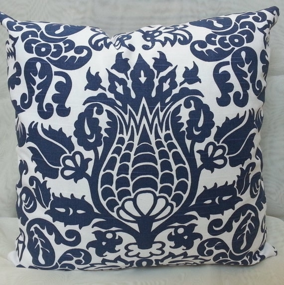 Items similar to Decorative Throw Pillow Cover with Premier Prints Amsterdam Slub Blue/ White ...