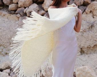 Knitted boho Lagenlook extra large beautiful sugar white shawl,shoulder scarf.