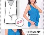 Sleeveless Blouse Pattern - PDF Sewing Pattern - Ruffle Pattern for Sewing - Womens Sewing Patterns - Sewing Tutorials - Clothing Patterns