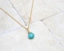 Gemstone Jewellery, Amazonite Pendant Necklace, Mint Green Pendant Necklace, Gemstone Pendant, Turquoise Blue Pendant, 14k Rolled Gold