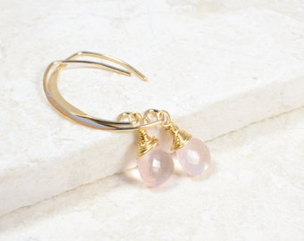 Rose Quartz Earrings, Gift For Her, January Birthstone, Gift For Wife, Gemstone Earrings, 14K gold filled, Gift For Mum, Gift For Wife