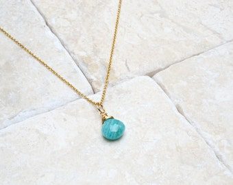 Turquoise Amazonite Pendant Necklace, Mint Green Gemstone Necklace, Gemstone Pendant, Green Blue Pendant, 14k Gold Filled, Delicate pendant